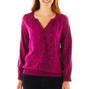 St. John's Bay® Long-Sleeve Peasant Top