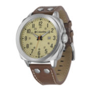 Columbia® Cornerstone Mens Brown Leather Lifestyle Watch