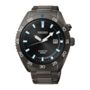 Seiko® Mens Black Stainless Steel Kinetic Watch SKA625