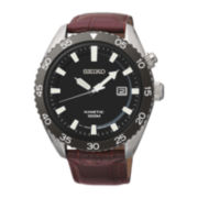 Seiko® Mens Brown Leather Strap Kinetic Watch SKA627