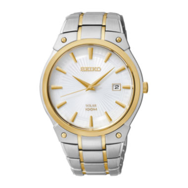 jcpenney.com | Seiko® Mens Two-Tone Stainless Steel Solar Watch SNE324
