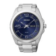 Seiko® Mens Stainless Steel Solar Watch SNE337
