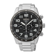 Seiko® Mens Stainless Steel Solar Chronograph Watch SSC229