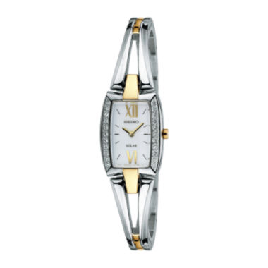 jcpenney.com | Seiko® Womens Crystal-Accent Two-Tone Stainless Steel Solar Watch SUP084