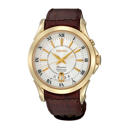 Seiko® Mens Brown Leather Strap Perpetual Watch SNQ118