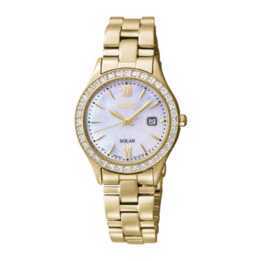 jcpenney.com | Seiko® Womens Crystal-Accent Gold-Tone Stainless Steel Solar Watch SUT076