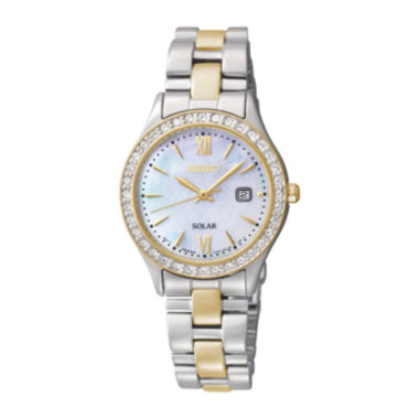 jcpenney.com | Seiko® Womens Crystal-Accent Two-Tone Stainless Steel Solar Watch SUT074