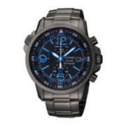 Seiko® Mens Black Stainless Steel Solar Chronograph Watch SSC079