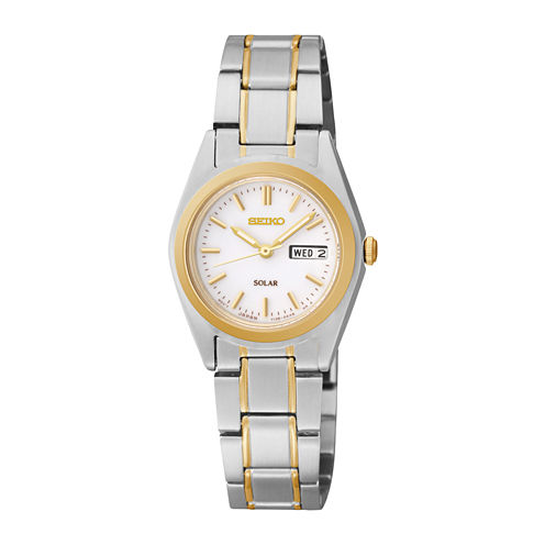 Seiko® Womens Two-Tone Stainless Steel Solar Bracelet Watch SUT108
