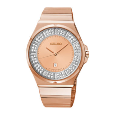 jcpenney.com | Seiko® Womens Crystal-Accent Rose-Tone Stainless Steel Bracelet Watch SXDF74