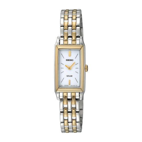 Seiko® Womens Two-Tone Stainless Steel Solar Bracelet Watch SUP028