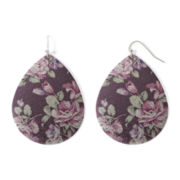 Arizona Purple Floral Print Teardrop Earrings