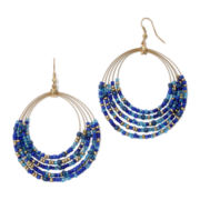 Mixit™ Gold-Tone Blue Seed Bead Five-Row Hoop Earrings
