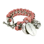 Breast Cancer Awareness Dark Pink Woven Bracelet