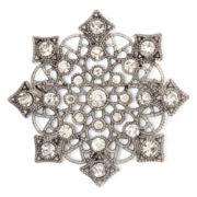 Liz Claiborne® Hematite Crystal Milgrain Snowflake Pin