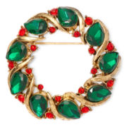 Liz Claiborne® Gold-Tone Red and Green Christmas Wreath Pin