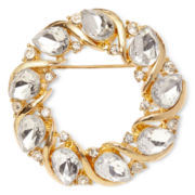 Liz Claiborne® Gold-Tone Crystal Christmas Wreath Pin