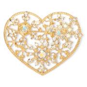Liz Claiborne® Gold-Tone Crystal Milgrain Heart Pin