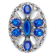 Liz Claiborne Silver-Tone Blue Milgrain Oval Pin