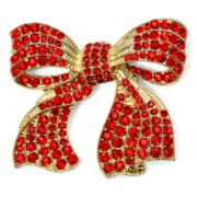 Monet® Red Stone Gold-Tone Bow Pin