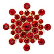 Monet® Red Stone Gold-Tone Snowflake Pin