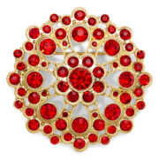 Monet® Red Stone Gold-Tone Cluster Pin