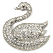 Monet® Crystal Silver-Tone Swan Pin