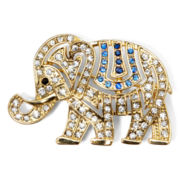 Monet® Clear and Blue Stone Gold-Tone Elephant Pin