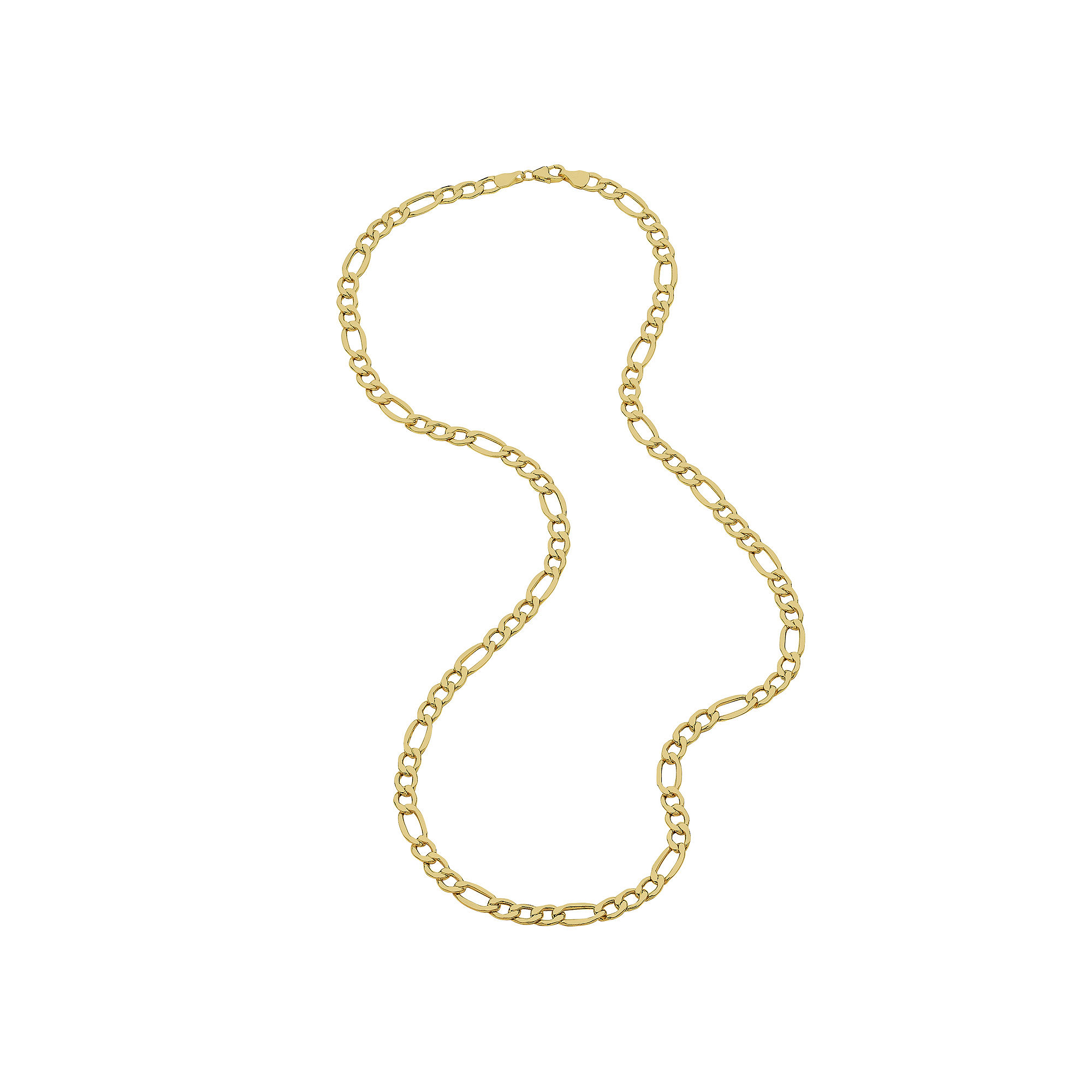 """Infinite Gold™ 14K Yellow Gold 22"""" Hollow Figaro Chain Necklace"""