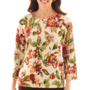 Alfred Dunner® Leaf Floral Print Pullover Sweater