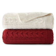 JCPenney Home™ Chunky Cable Knit Chenille Throw