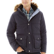 IZOD® Hooded Coat with Faux-Fur Trim