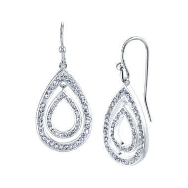 jcpenney.com | Crystal Sophistication Crystal Silver Over Brass Drop Earrings