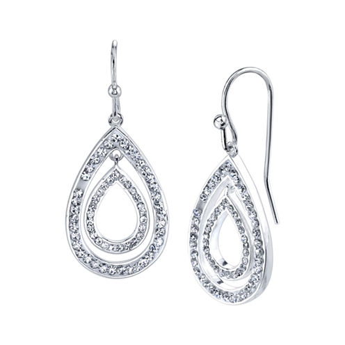 Sparkle Allure Crystal Silver Over Brass Drop Earrings