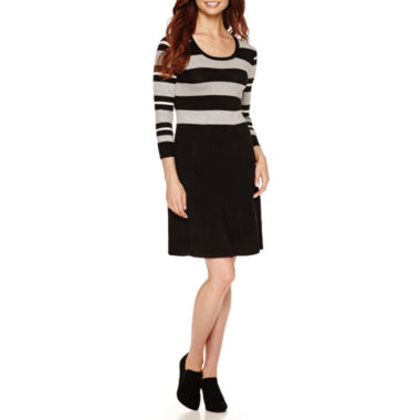 jcpenney.com | Studio 1 3/4 Sleeve Rugby Stripe Sweater Dress