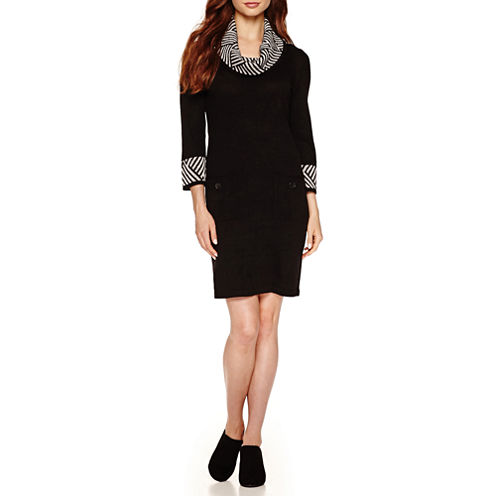 Studio 1 3/4 Sleeve Cowl Neck Sweater Dress
