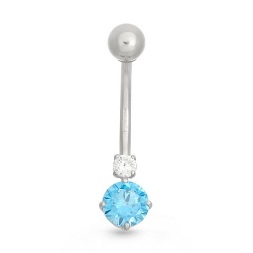 10K White Gold Blue And White Cubic Zirconia Belly Ring