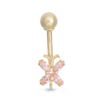 "jcpenney.com | 10K Yellow Gold Pink Cubic Zirconia ""x"" Belly Ring"