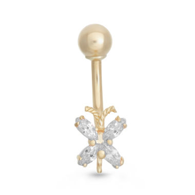 "jcpenney.com | 10K Yellow Gold Cubic Zirconia ""x"" Belly Ring"