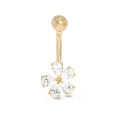 jcpenney.com | 10K Yellow Gold Cubic Zirconia Flower Belly Ring