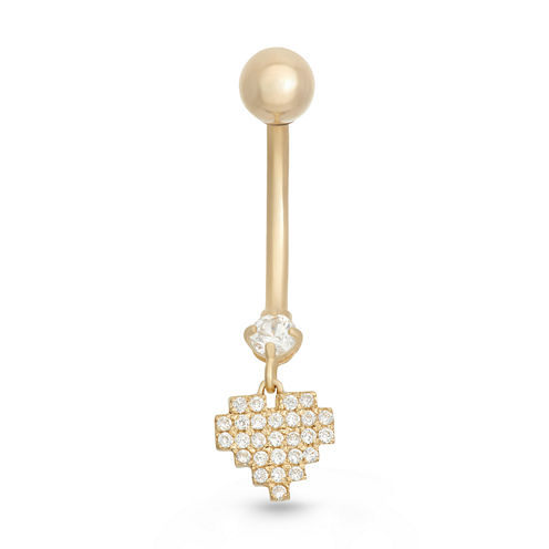 10K Yellow Gold Cubic Zirconia Pave Heart Belly Ring