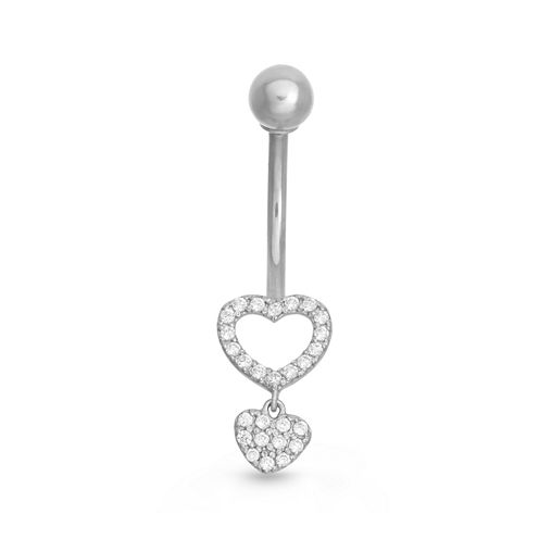 10K White Gold Cubic Zirconia Heat Drop Belly Ring