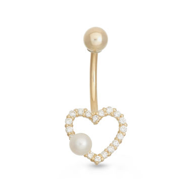 jcpenney.com | 10K Yellow Gold Cubic Zirconia Open Heart Belly Ring