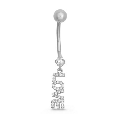 """10K White Gold Cubic Zirconia """"Love"""" Belly Ring"""