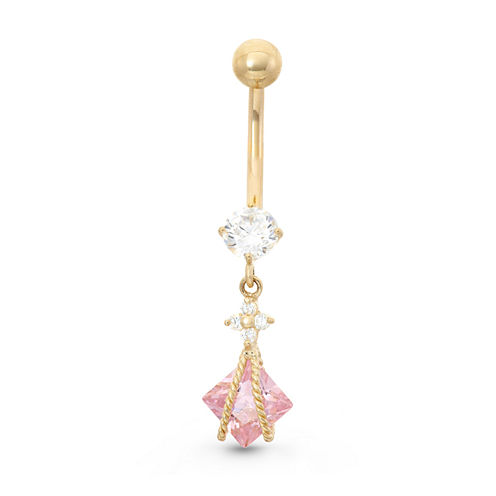10K Yellow Gold Pink And White Cubic Zirconia Dangle Bely Ring