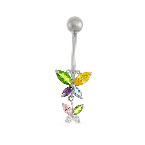 10K White Gold Multi-color Cubic Zirconia Butterfly Belly Ring