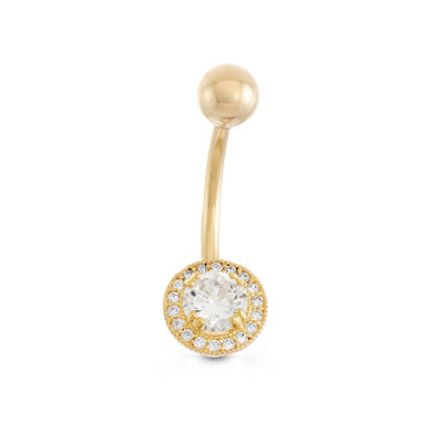 jcpenney.com | 10K Yellow Gold Cubic Zirconia Round Framed Belly Ring