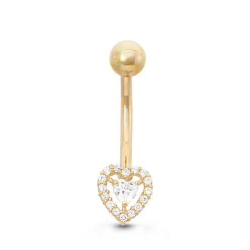 10K Yellow Gold Cubic Zirconia 7mm Heart Belly Ring