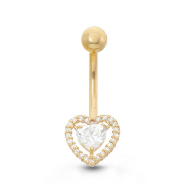 jcpenney.com | 10K Yellow Gold Cubic Zirconia 9.3mm Heart Belly Ring