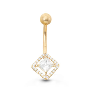 jcpenney.com | 10K Yellow Gold Cubic Zirconia 10.8mm Square Belly Ring